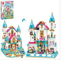Игровой конструктор для девочки Qman 32015 Дворец принцессы с мебелью и фигурками (1169 деталей)