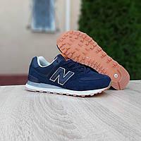 Мужские замшевые кроссовки в стиле New Balance 574 синие, фото 1