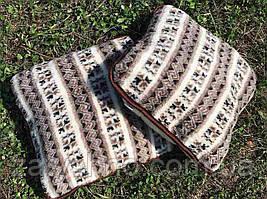 Подушка 50*50 з овчини / подушка тепла з овчини / подушка біла з візерунком