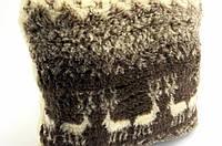 Подушка с овчины на подарок / подушка теплая на диван / подушка коричневая с оленями