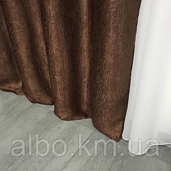 Штори в спальню двосторонні Блекаут софт 150x270 cm (2 шт) ALBO Шоколадні (SH-250-11)