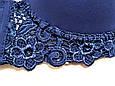 Бюстгальтер мікрофібра з мереживом чашка 85D синій, фото 5