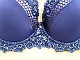 Бюстгальтер мікрофібра з мереживом чашка 85D синій, фото 2