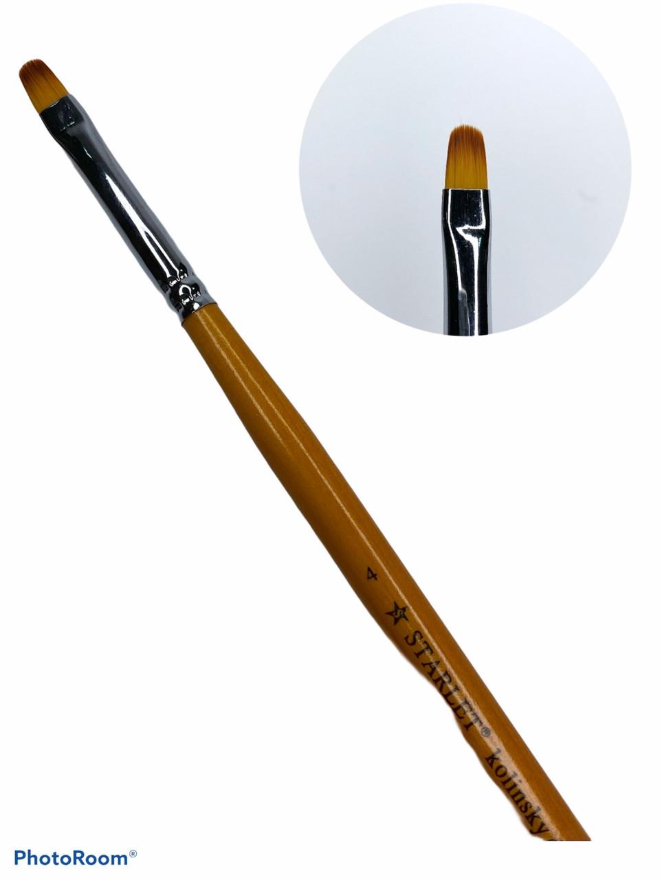 Кисть для геля овальная, STARLET PROFESSIONAL KOLINSKY № 8, искусственный ворс