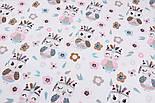 """Поплин """"Совы-индейцы"""" мятно-розовые, фон - белый, ширина 240 см (№3217), фото 3"""