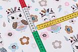 """Поплин """"Совы-индейцы"""" мятно-розовые, фон - белый, ширина 240 см (№3217), фото 5"""