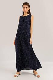 Длинное летнее платье в пол с шнуровкой на талии Finn Flare S19-14079-101 из вискозы темно-синее