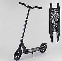 """Складной, прогулочный самокат для детей """"Best Scooter"""" 68848 """"SHARK"""" с большими колесами и подножкой, черный"""
