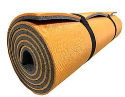 """Каремат для йоги 1800×600×9мм, """"Фитнес"""", двухслойный, оранжевый/серый"""