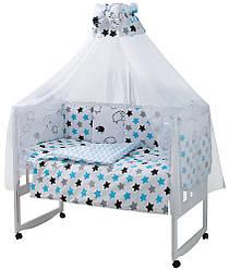 Детская постель Babyroom Classic Bortiki-01 (6 элементов) белый (барашки)