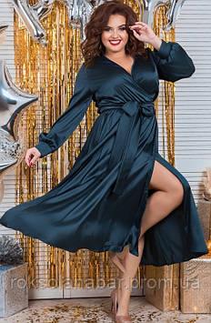 Сукня жіноча XL бутилкового кольору з шовку