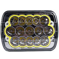 Фара LED прямоугольная 45W (15 диодов) ближн. + дальний + LED кольцо поворот (198х140х69) От 2-х штук дешевле!