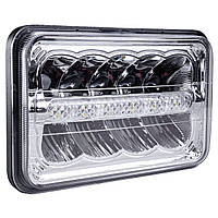 Фара LED прямоугольная 45W (15 х 3Вт)(ближн. + дальний+DRL )(4000Lm) (198мм х 140мм х 69мм)(Вилка Н4) (IP67) (