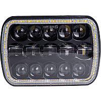 Фара LED 75W КАМАЗ, МАЗ, ОПТИКА, ближн.+дальний + светящееся ДХО + поворот) Гарантия! От 2-х штук цена ниже!