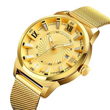 Классические мужские часы Skmei 9166 золотые
