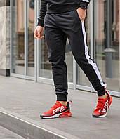 Мужские спортивные штаны черные с белой полоской сезон весна\лето стильная одежда для парней