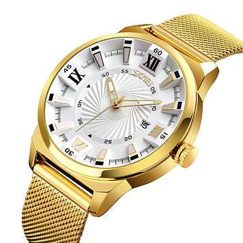 Классические часы Skmei 9166 золотые с белым циферблатом