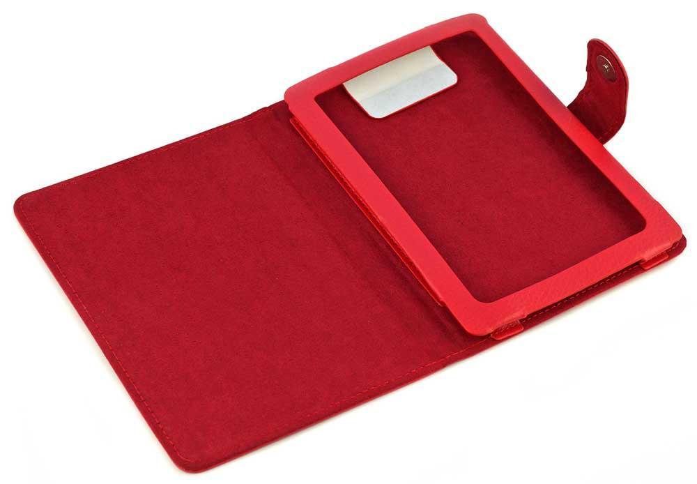 червоний чохол для Pocketbook 614 з хлястиком