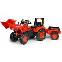 Трактор детский педальный Falk 2060AM Kubota с прицепом и ковшом
