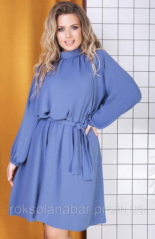 Платье женское XL джинсового цвета с поясом