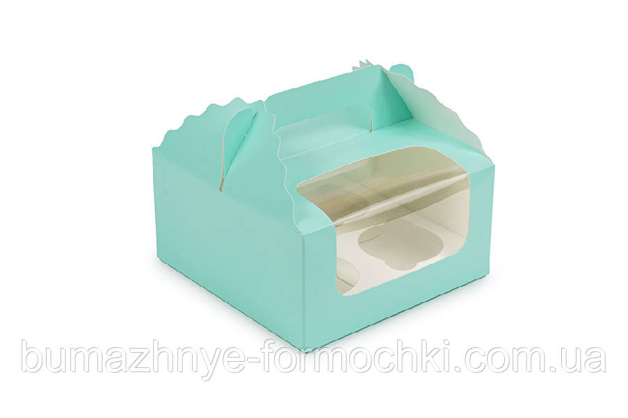Коробка для капкейков, кексов на 4 шт., 170*170*85, цвет тиффани