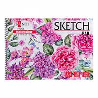 Альбом для акварели SANTI Botanic, А4, Paper Watercolour Collection, 10 л., 200г/м2 742836