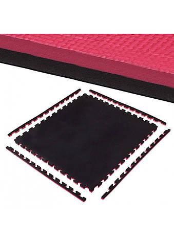 Мат пазл (ластівчин хвіст) Springos Mat Puzzle EVA 100x100x2 см Black/Red. Татамі килимок, фото 2