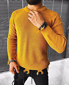 Чоловічий ажурний светр з круглим коміром чорний