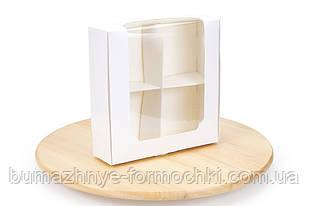 Коробка под десерт 200*200*60  с окном, белая (50 штук)
