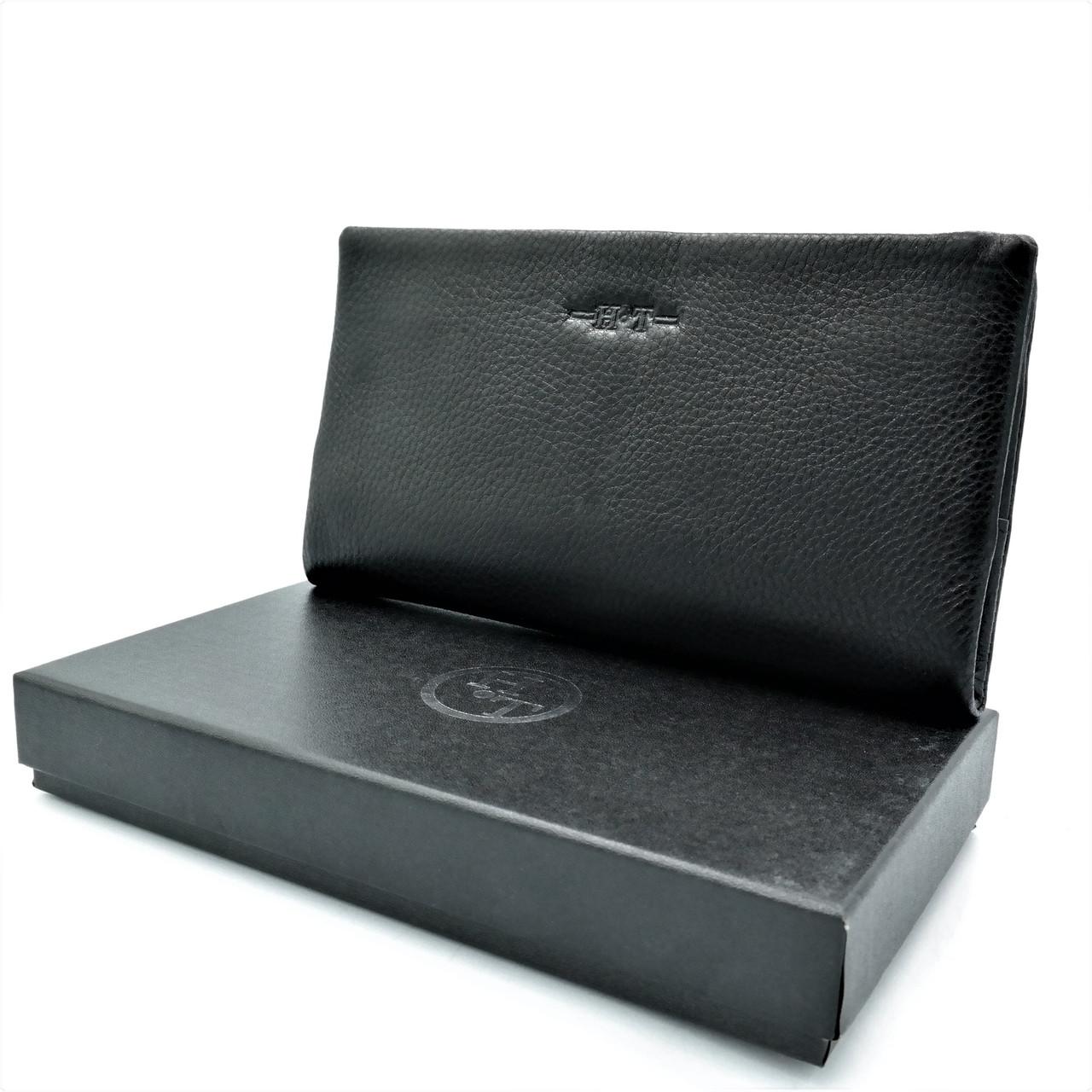 Чоловічий шкіряний клатч-гаманець H. T. Leather Чорного кольору Чоловічий клатч з відділенням для документів