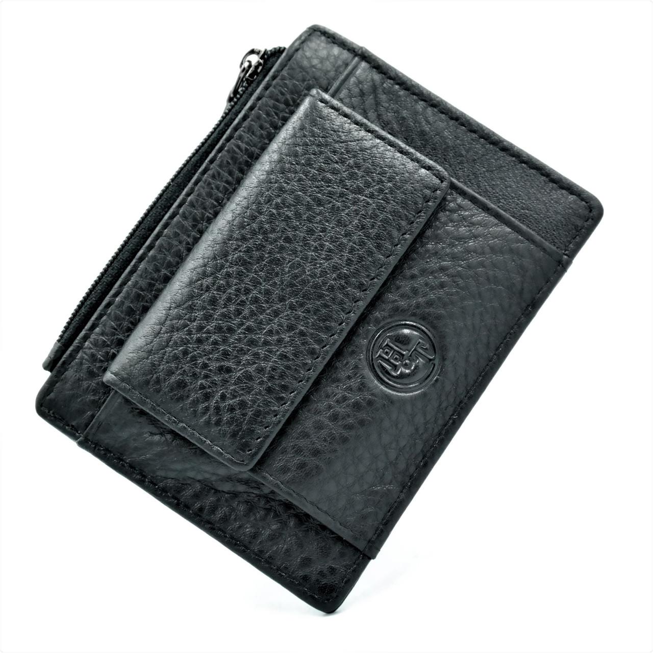 Мужская кожаная визитница Чёрного цвета Небольшой мужской бумажник Удобный кожаный компактный кошелек