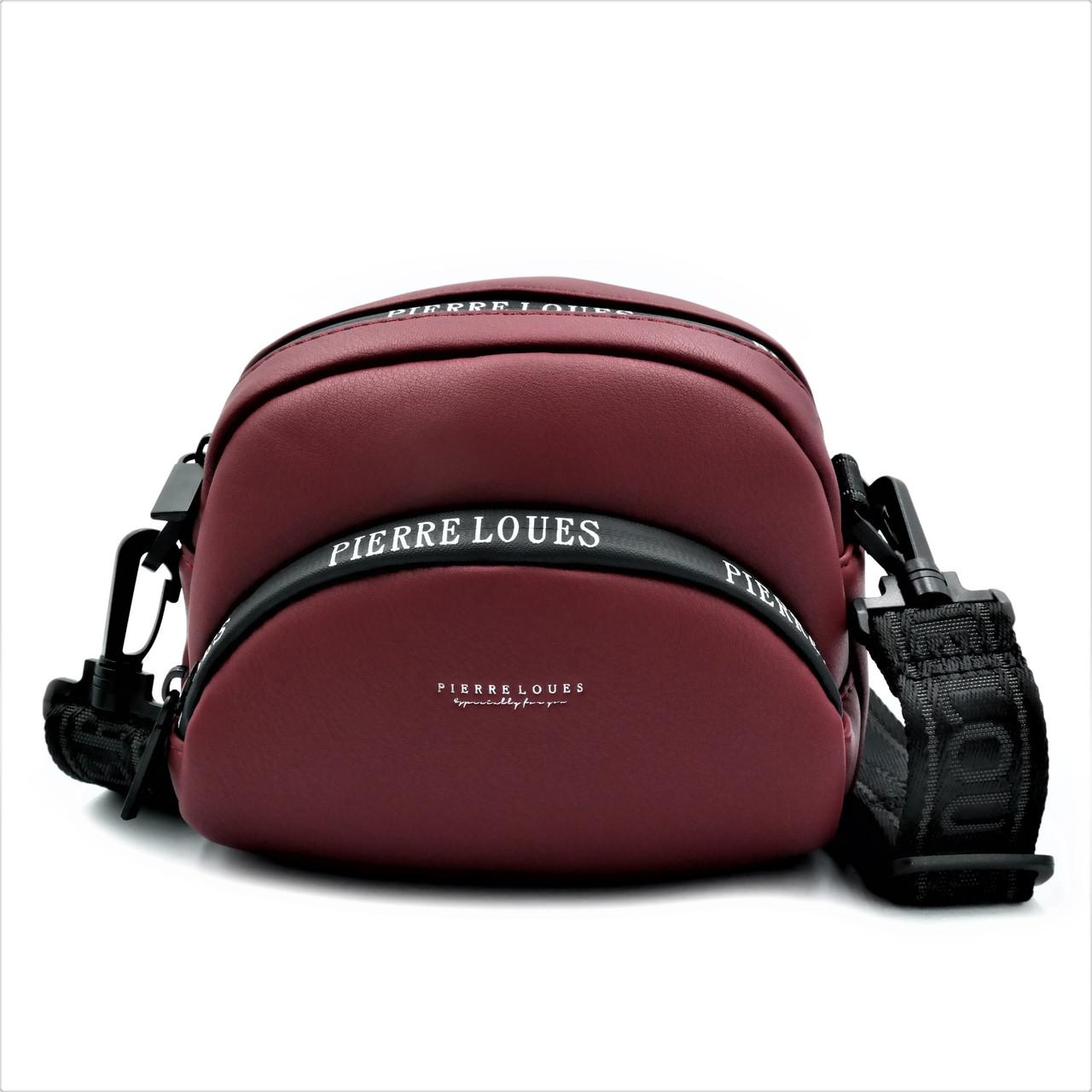 Сумка для жінок на плече темно-червоний з екошкіри Оригінальна жіноча сумка зі знімною регульованою ручкою