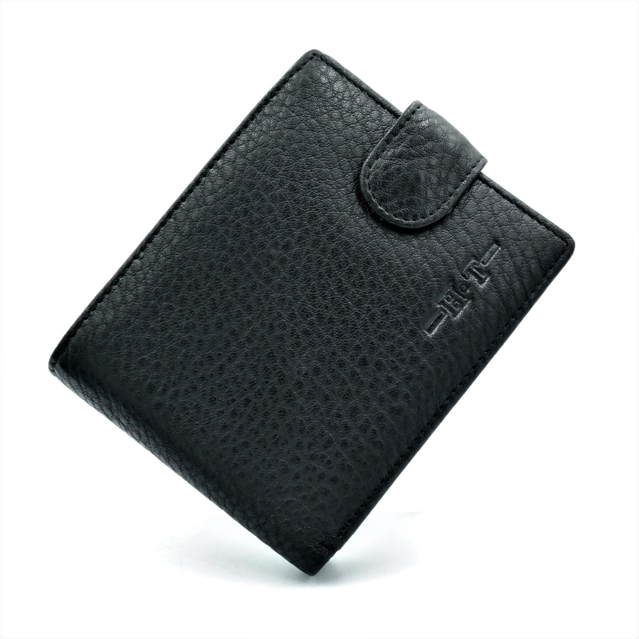 Чоловічий шкіряний гаманець Чорного кольору Зручний чоловічий гаманець Компактний шкіряний гаманець для чоловіка