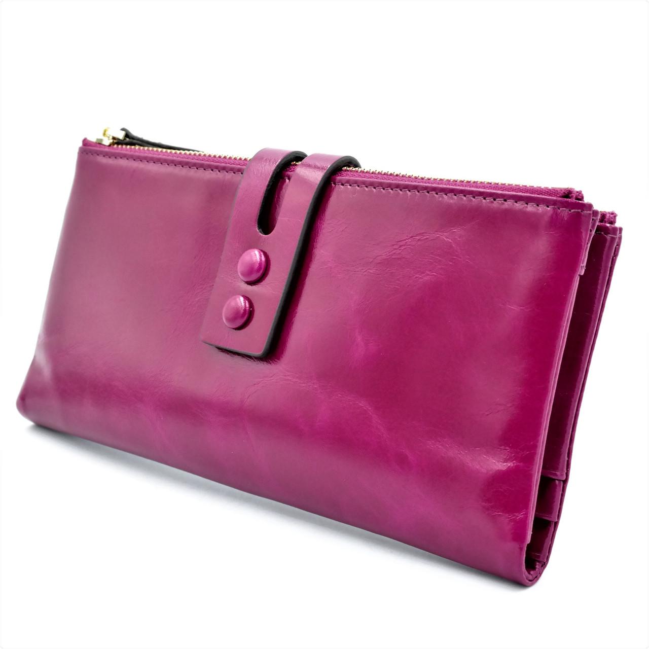 Жіночий шкіряний гаманець Малиновий Якісний гаманець з натуральної шкіри Жіночий гаманець Портмоне для дівчину