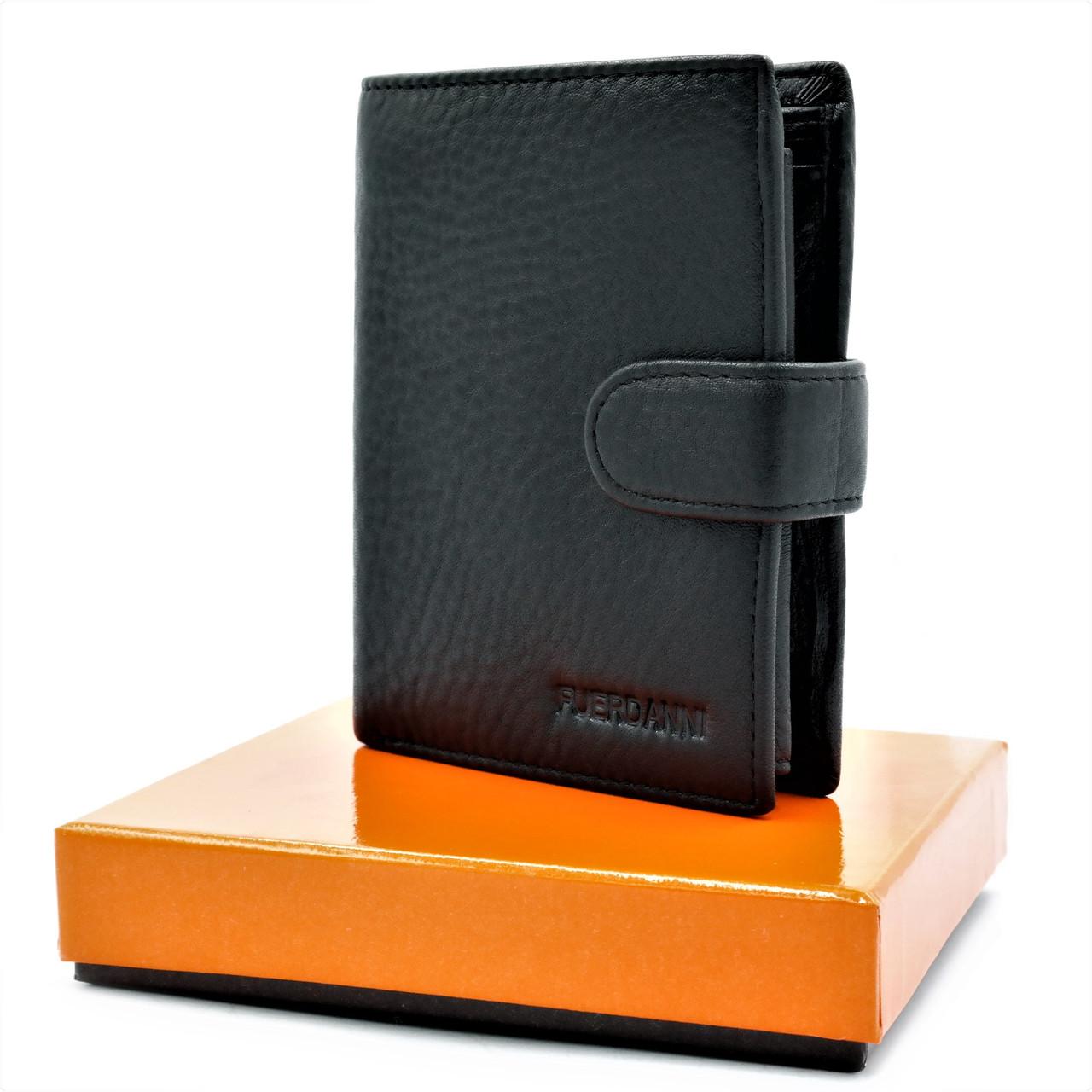 Чоловічий шкіряний гаманець Чорний Сучасний гаманець портмоне для чоловіка Чоловічий клатч з еко шкіри