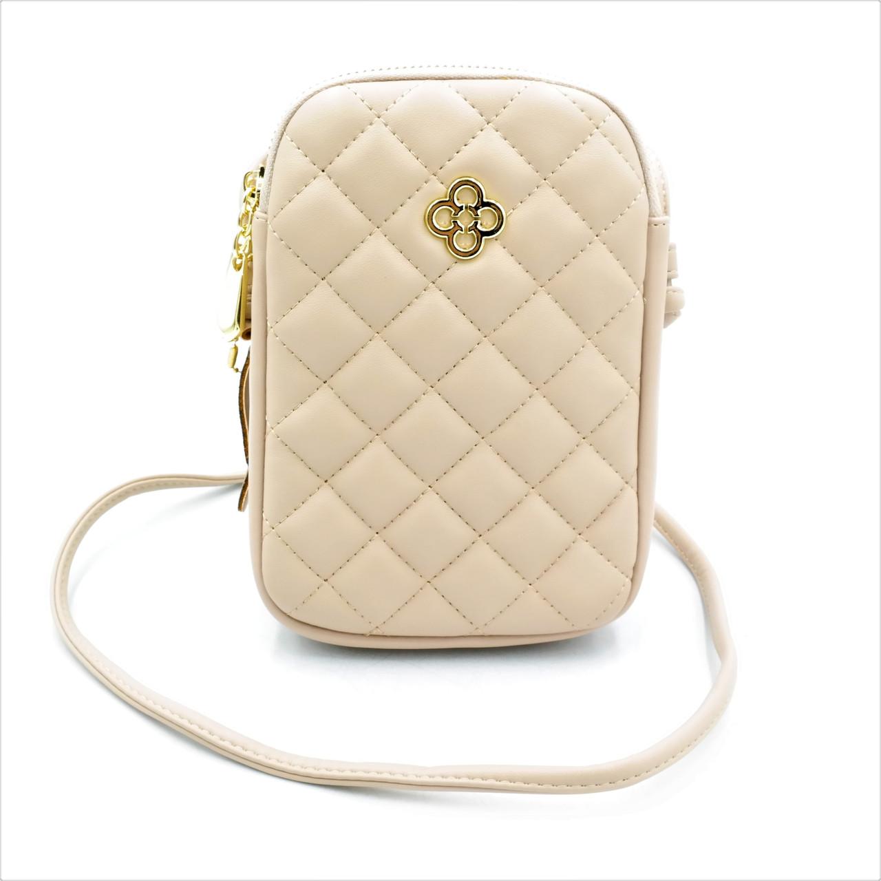 Сумка на плече для дівчини Weatro колір бежевий Оригінальна жіноча сумочка на літо Маленька сумка жіноча