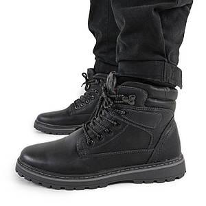 Зимние мужские ботинки из кожзама черные 1259902762