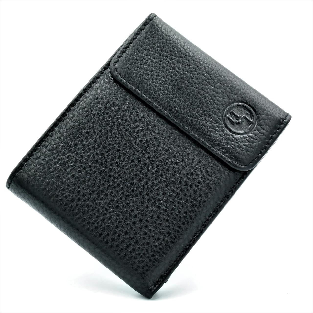 Чоловічий шкіряний гаманець Чорного кольору Невеликий чоловічий гаманець Зручний шкіряний гаманець