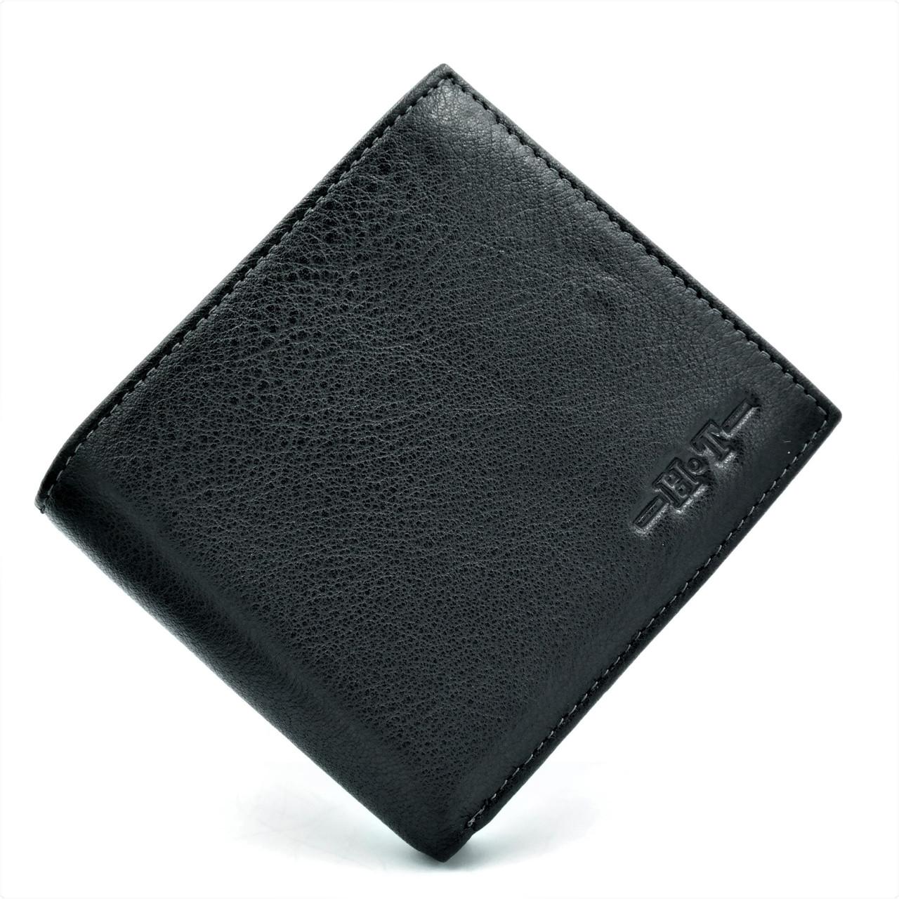 Чоловічий шкіряний гаманець Чорного кольору Невеликий чоловічий гаманець Зручний шкіряний компактний гаманець