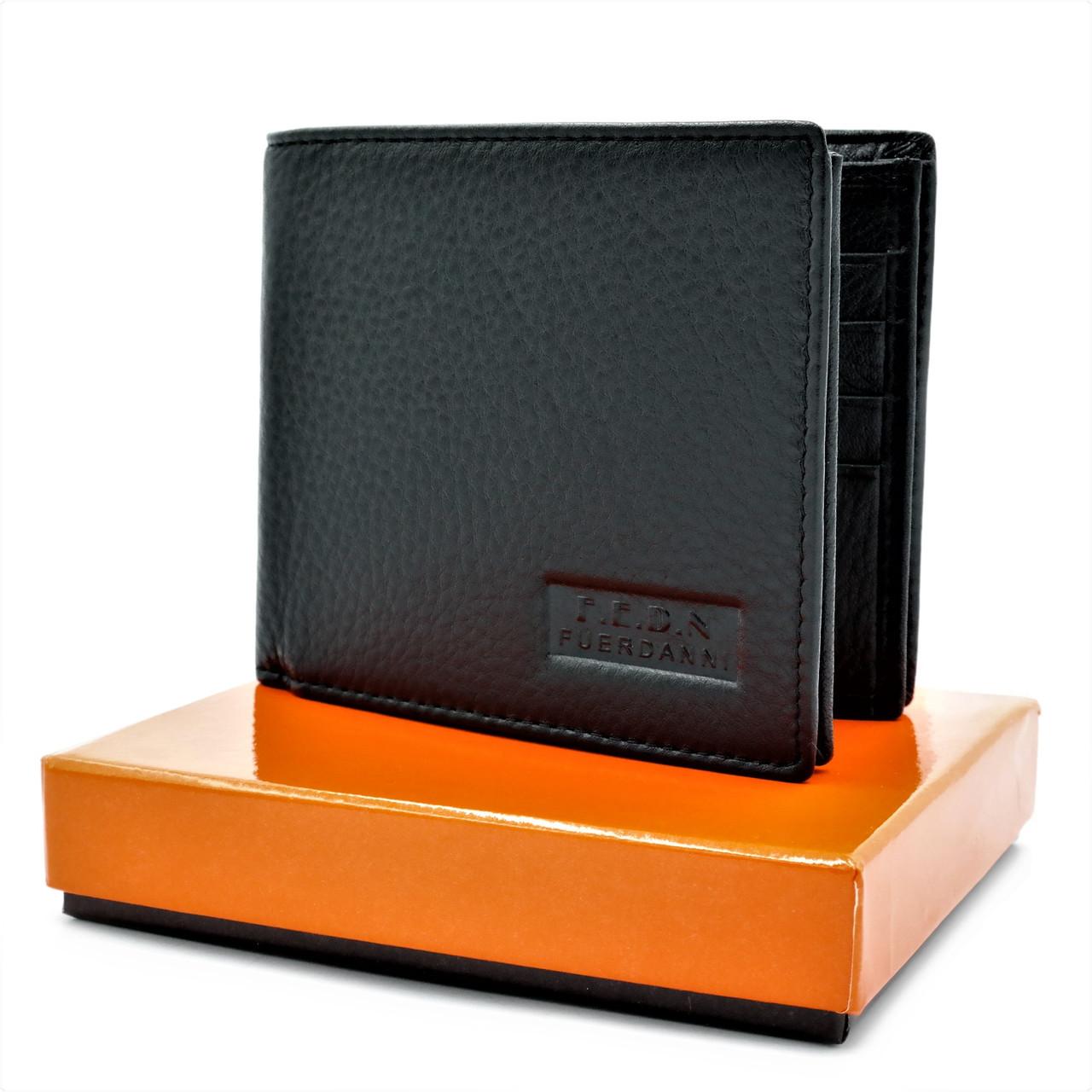 Мужской кожаный кошелек Чёрный Кожаный маленький качественный кошелек  для мужчины Мужской бумажник