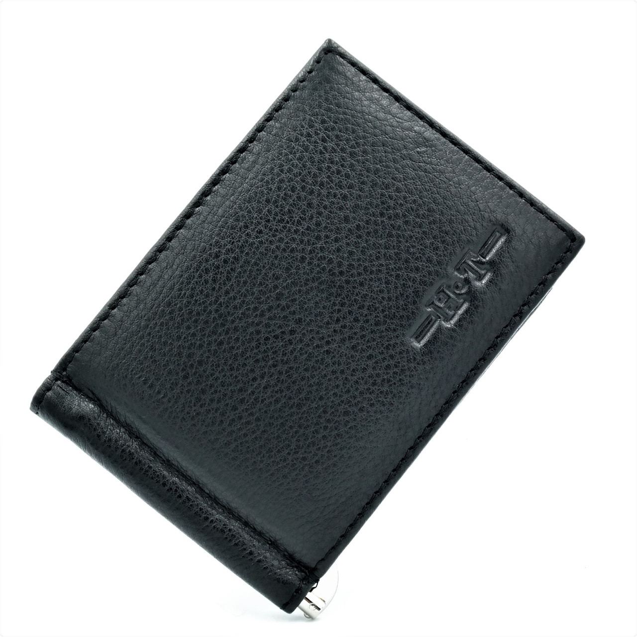 Чоловічий шкіряний затиск Чорного кольору Сучасний якісний гаманець для чоловіка Чоловічий невеликий гаманець