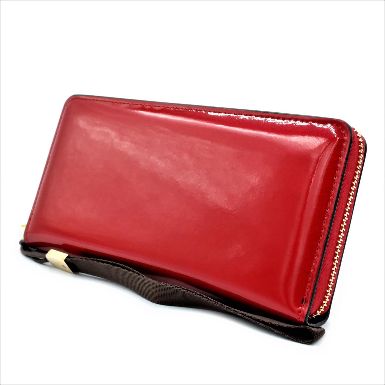Женский кошелёк с ручкой Lemon красный Портмоне женское из экокожи Кошелёк с ручкой женский
