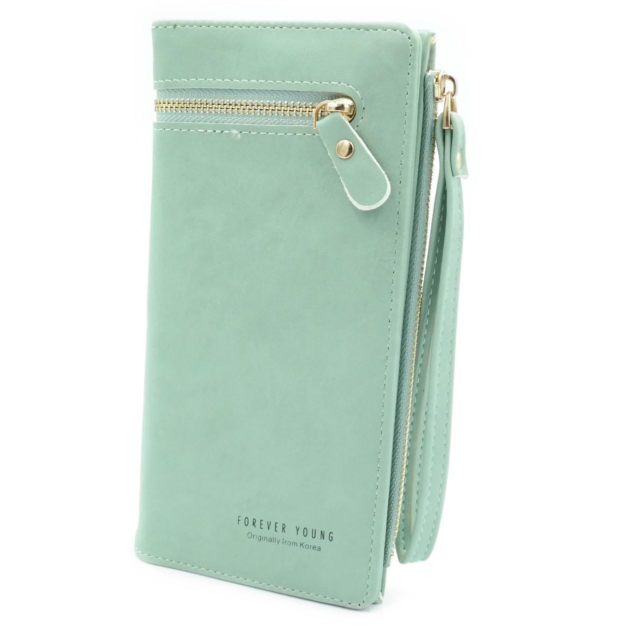 Жіночий гаманець Зелений Гаманець з еко шкіри для дівчини Якісний жіночий гаманець Гаманець клатч