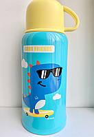 Термос детский с трубочкой чашкой и сумка-чехол с датчиком температуры и объемом 550мл