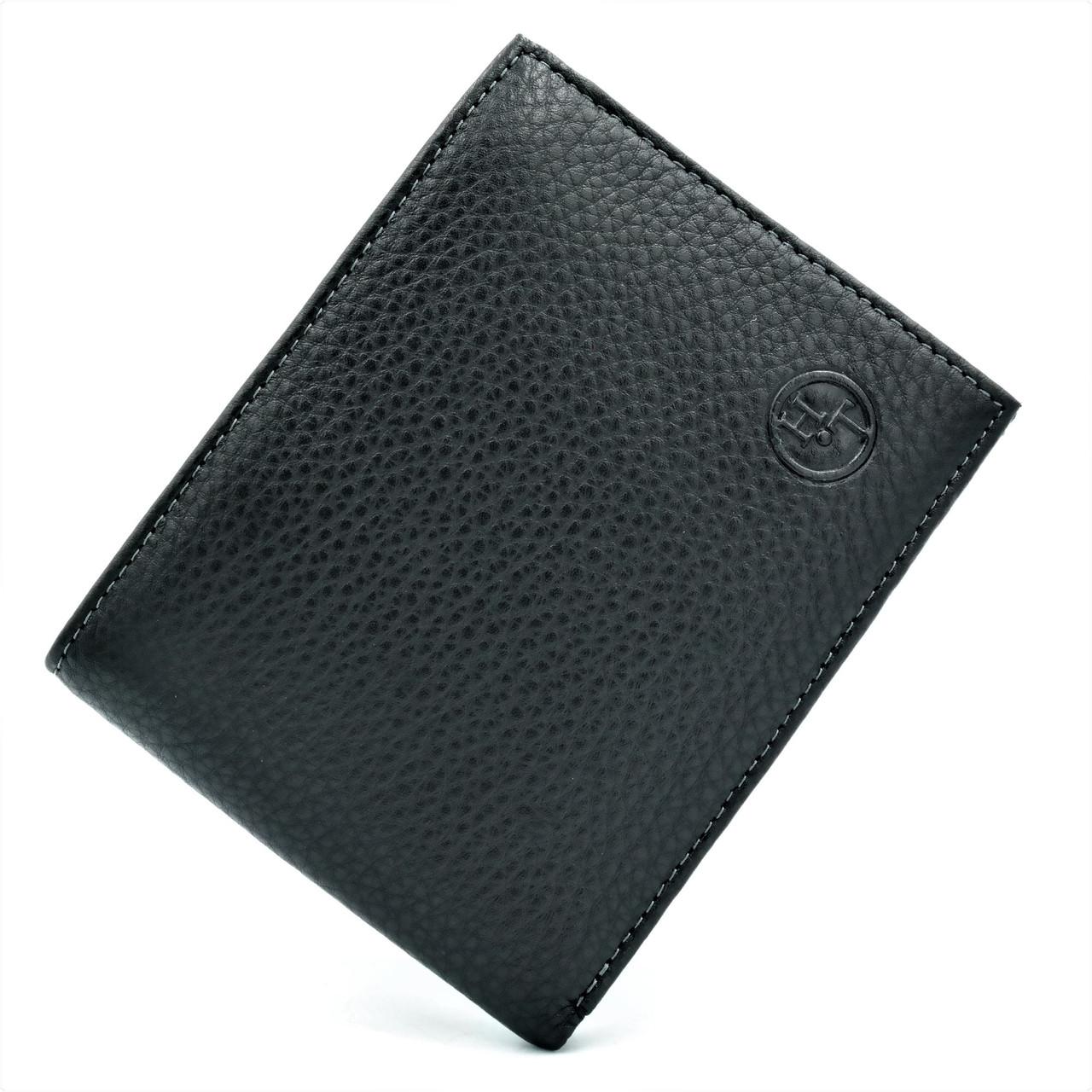 Мужской кожаный кошелёк  Чёрного цвета Небольшой мужской бумажник Удобный кожаный кошелек