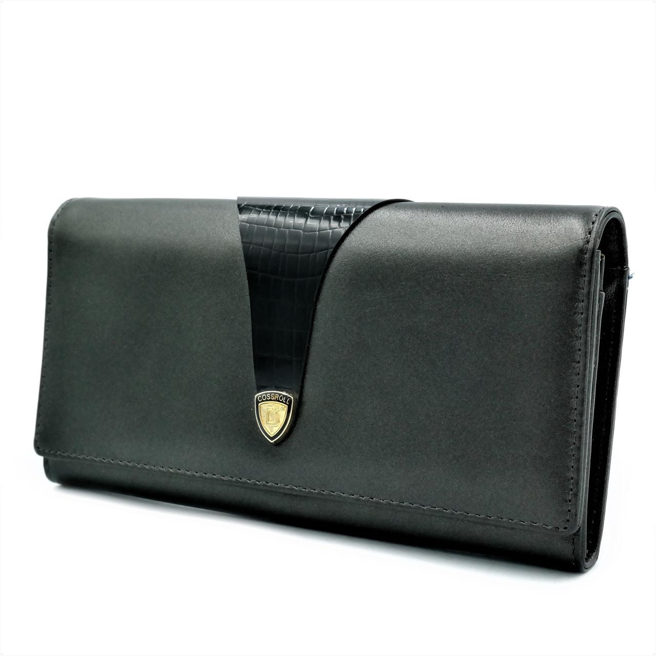 Женский кожаный кошелек Чёрный Качественный современный кошелек для девушки Кожаный кошелек для девушки