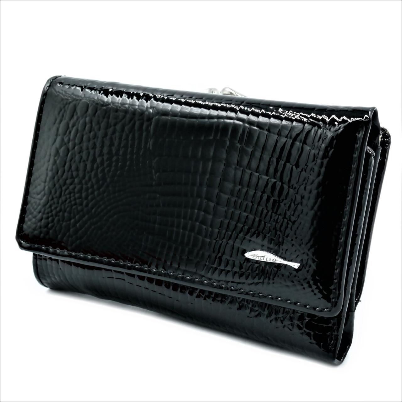 Женский кожаный кошелек Чёрный Качественный кошелек из натуральной кожи Женский кошелек Небольшой кошелек