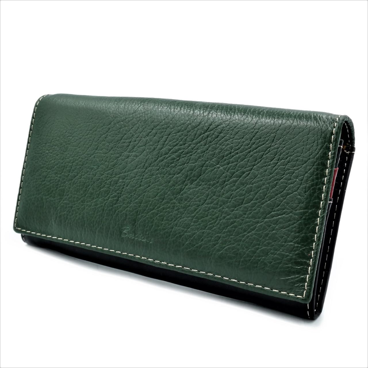 Женский кожаный кошелек Зелёный + Чёрный Удобный кошелек для девушки Женский кошелек портмоне из кожи