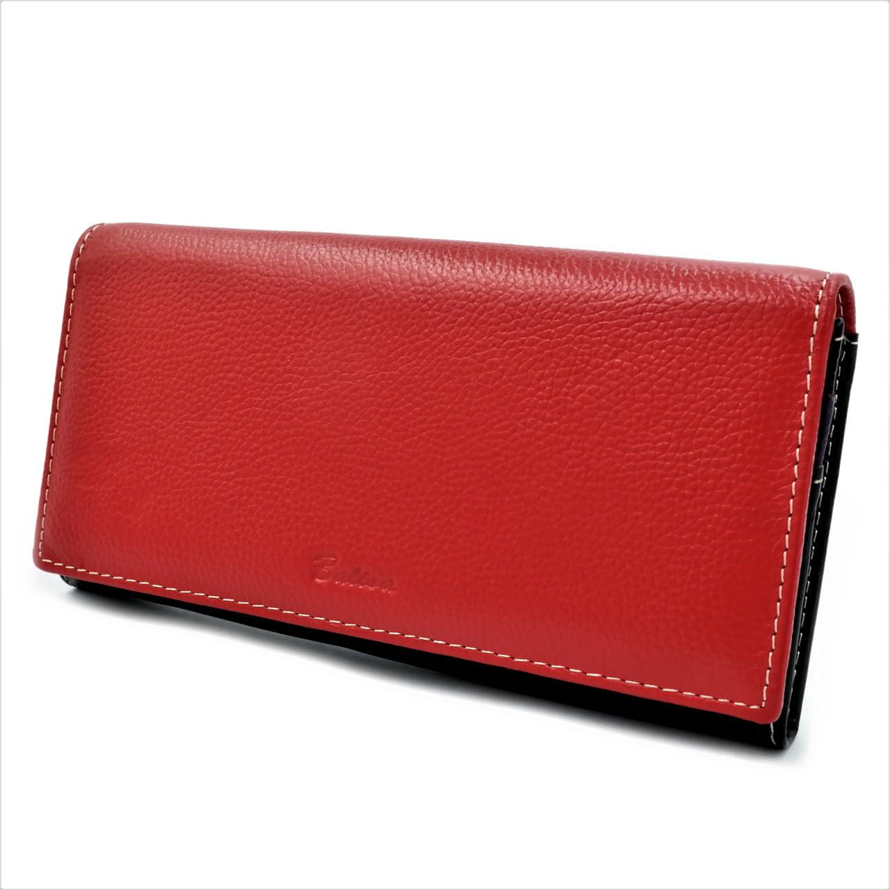 Женский кожаный кошелек Красный + Чёрный Удобный кошелек для девушки Женский кошелек портмоне из кожи