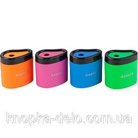 Пластикова точилка 1158-А с вместительным контейнером и покритием soft touch. Асорти неоновых цветов.